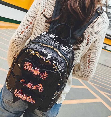 UK Women Girls School Backpack Crown Sequins Travel Shoulder Bag