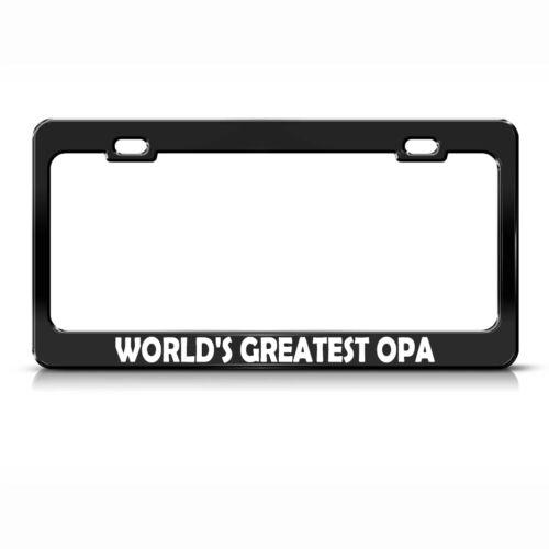 World/'s Greatest Opa Black Metal License Plate Frame Tag Holder