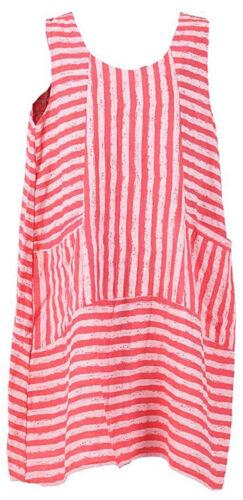 Womens Italian Lagenlook Stripe Panel Inserts Design Pocket Linen Ladies Dress
