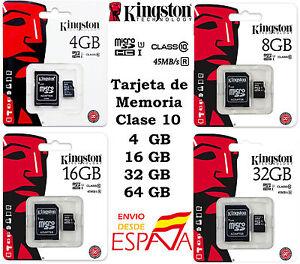 Tarjeta-MicroSD-Kingston-4-8-16-32-64GB-Clase-10-Memoria-Micro-SD-Original
