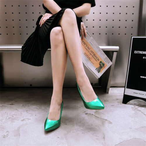 Women Patent Leather High Heels Pumps Solid Pointed Toe Stiletto Plus Size Shoes