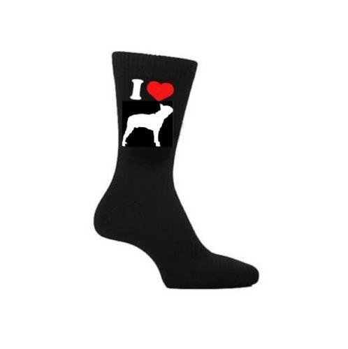 Boston Terriers les propriétaires de chiens chaussettes fantaisie Cadeau I LOVE Boston Terrier Chaussettes