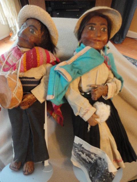 Par De Muñecas ecuatoriano Cuero Cuero Cuero Colombiano Muñecas Vintage  más descuento