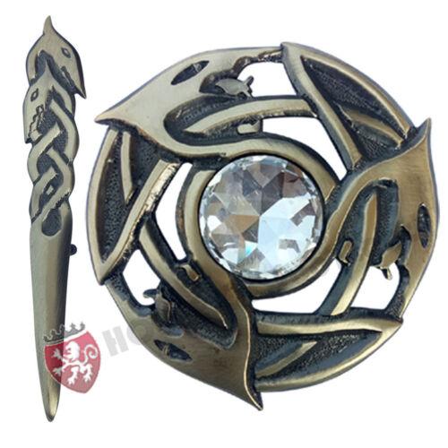 HS Scottish Fly Plaid Broche pierre blanche antique//Serpents Celtic Knot Kilt Broche 4