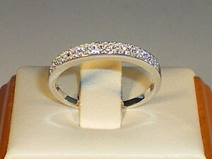 Ladies-Solid-925-Sterling-Silver-Brilliant-White-Sapphire-2-Row-Eternity-Ring