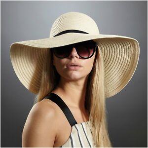 4c14112d3 Details about Ladies Womens Summer Sun Beach Floppy Hat Wide Large Brim  Straw Black Natural