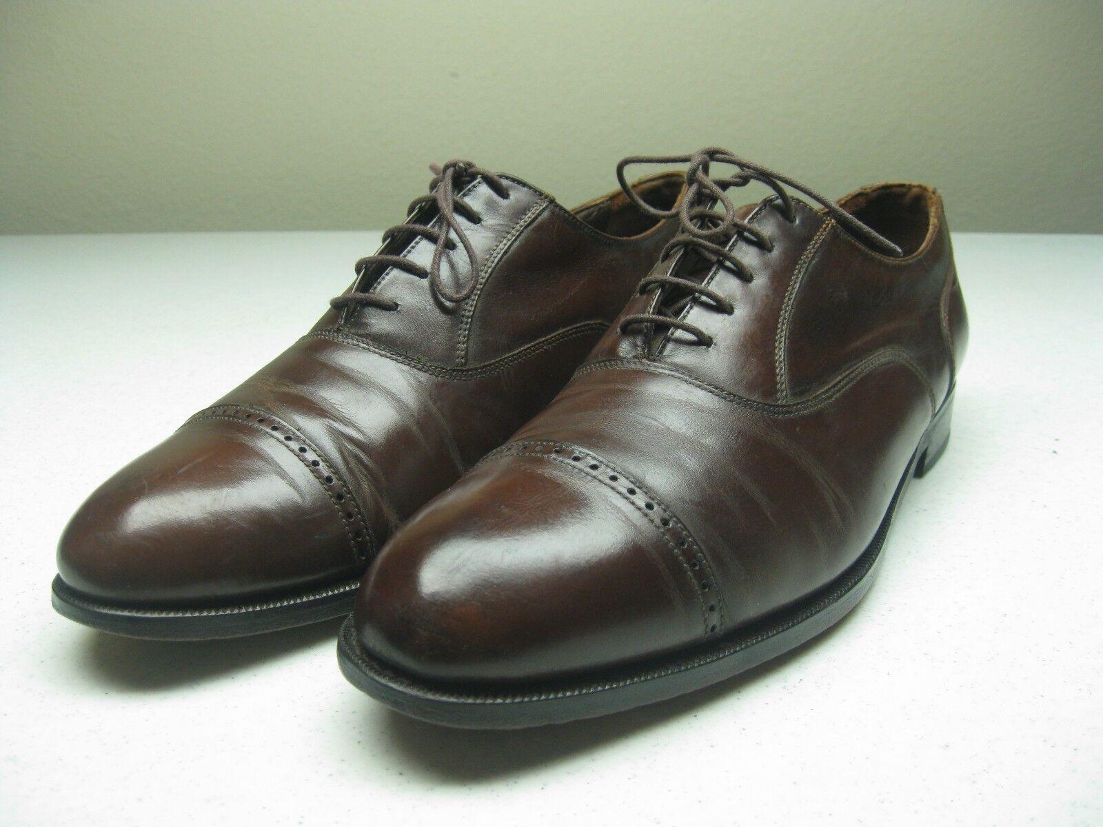 VINTAGE Marroneee CAP TOE OXFORD FLORSHIEM EXECUTIVE DRESS BUSINESS scarpe12D