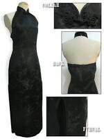 Robe De Soirée Chinoise Qi-pao Noir Trèfle Dos Décolleté Satin Tailles Au Choix