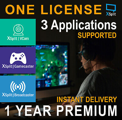 XSplit Gamecaster 1 YEAR Premium License(3 Application supported