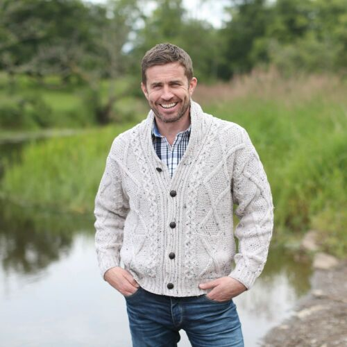 100/% Irish Merino Wool Aran Button Men/'s Sweater by Carraig Donn