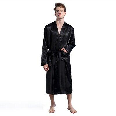 Men/'s Silk Satin Robe Kimono Long Bathrobe Sleepwear Wedding Grooms Loungewear