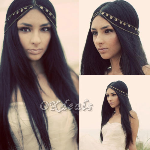 TOP Women Metal Rhinestone Head Chain Jewelry Headband Head Piece Hair band