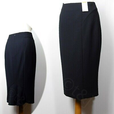 BNWT M/&S BLACK STRETCH SKIRT WITH SMALL BLUE//WHITE GEOMETRIC PATTERNS SIZE 22