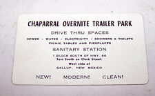 Vintage CHAPARRAL OVERNITE TRAILER PARK Camper RVTrade Card GALLUP NEW MEXICO