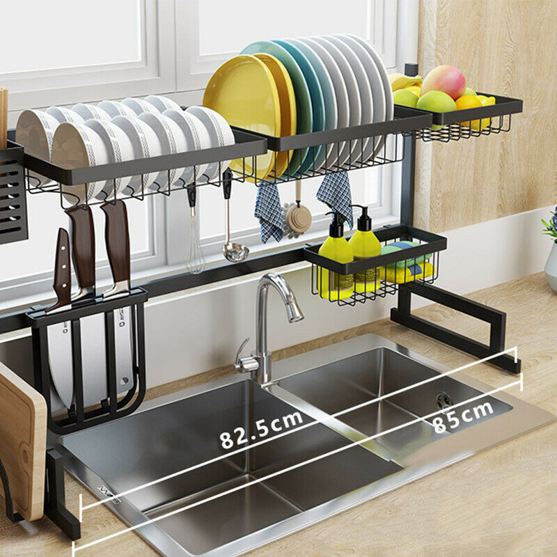 Dish Drying Rack Over Sink Drainer Shelf Kitchen Storage Org
