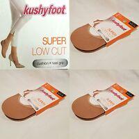 6 Pair Women's Kushyfoot Super Low Cut Foot Covers/socks, Nude 3478