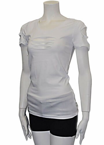 New /& Cute Cut Out Ripped Arms,Front Short Sleeve Shirt Stretch Choose S to 3XL