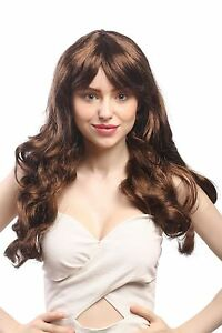 Wig-Ladies-Carnival-Brown-Mix-Long-Wavy-Fringe-Parted-60cm