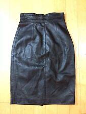 VTG Quality Soft Leather High Waist Long Pencil Straight Skirt Black Sz XS