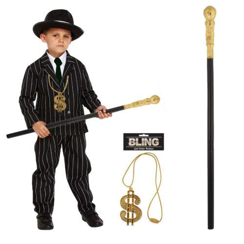 Boys Child Gangster Black Costume 1920/'s Fancy Dress Kids World Book Week Outfit