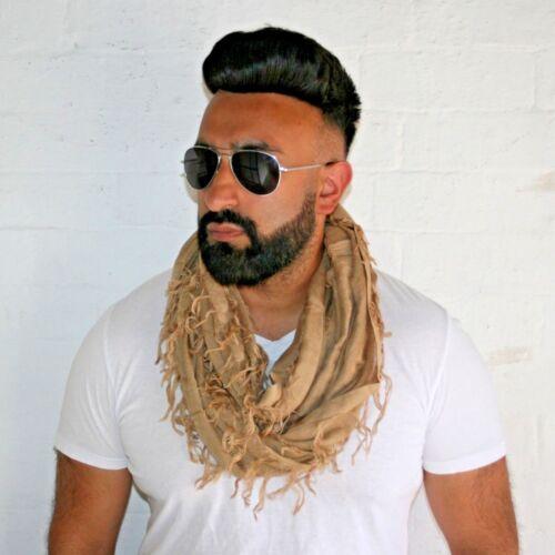Unisextrendy beige ruffle snood neck scarf round scarf infinity scarf