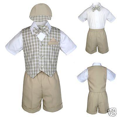 New Khaki Eton Wedding Vest Shorts Suit 4 Boy Baby /& Toddler 0-24M  2T 3T 4T