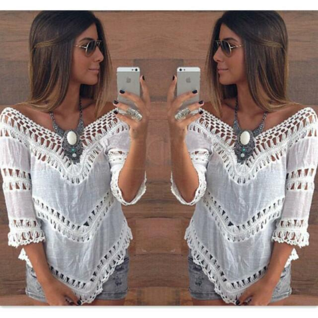 2015 Women Summer Boho Casual Holiday Evening Party Long Lace Beach Tops blouse