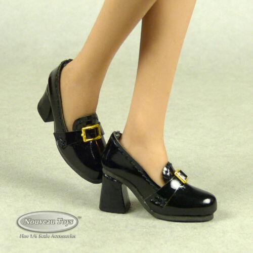 1/6 Scale Phicen, TBLeague, NT Female Platform Black Glossy Loafer Heels Ver#2