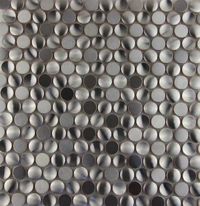 Image Is Loading Penny Round Stainless Steel Metal Mosaic Tile
