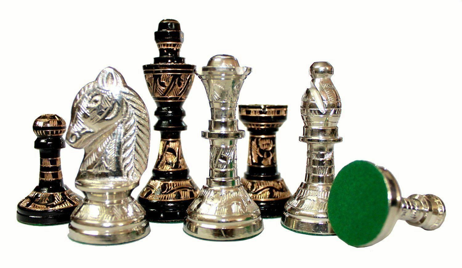 100% Brass 14  x 14  Collectible Premium Metal Brass Made Chess Board Game Set