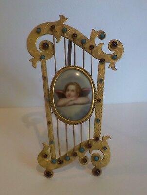 19. C Malerei Auf Porzellan Putte, Vergoldetes Bronze Jeweled Harfe Rahmen Einfach Und Leicht Zu Handhaben