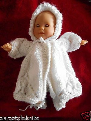 """Doll Clothes White Matinee set fit 12"""" Corolle, Am.Charac.11"""" 12"""" Tiny Tears"""
