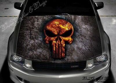 Skull Hood Full Color Graphics Adhesive Vinyl Sticker Wrap Decal Fit any Car 040