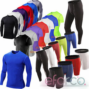 Mens-Sport-Compression-Base-Layers-Gym-Tops-Tight-T-Shirt-Shorts-Pants-Leggings