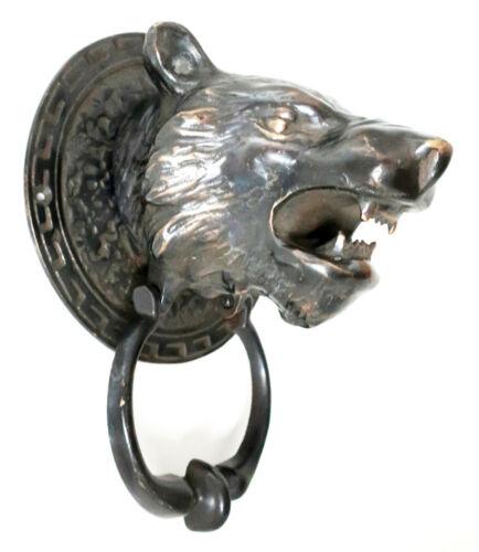 PIG SOLID BRASS DOOR KNOCKER shaped like SKELETON//SKULL IRISH CLADDAGH FOX