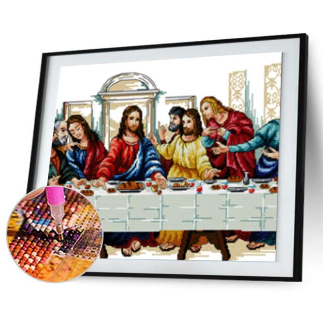 Joyautum The Last Supper Portrait DIY Needlework Handmade Cross Stitch Set Embroidery Printed Jesus Christ Cross-Stitching Wall Decor 11ct Print Fabric