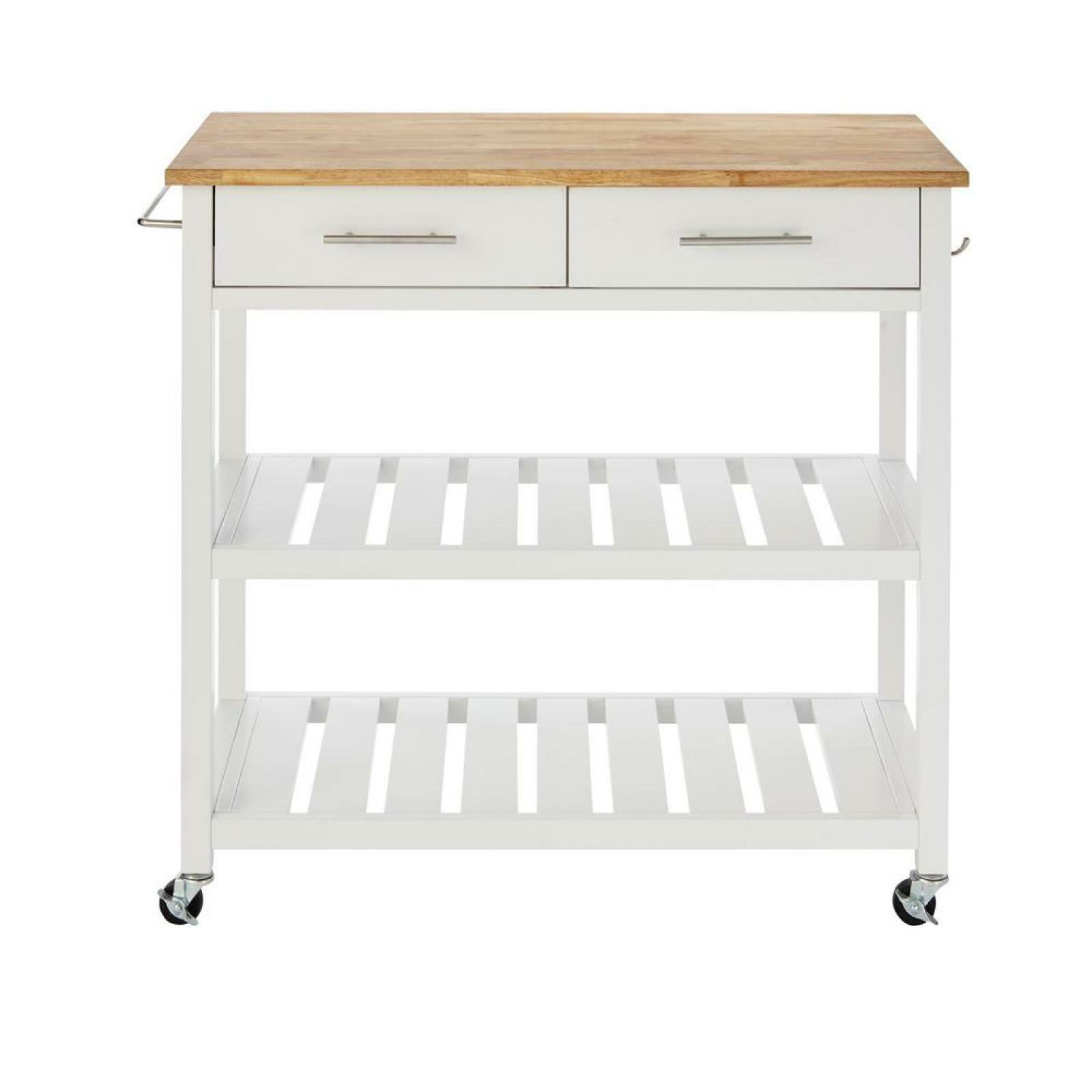 Stylewell Kitchen Table Cart With Butcher Block Top Food Carrier Dish Dolly
