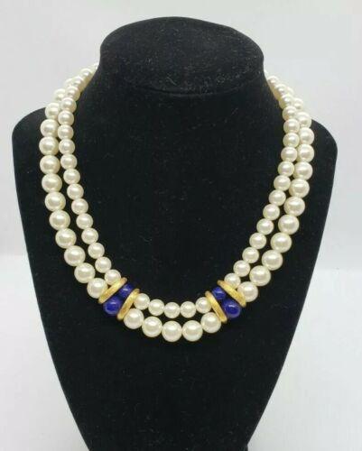 Double Strand Faux Pearls Napier Pearl Bracelet Signed Designer Costume Vintage Pearl Goldtone Closure 7,25 long
