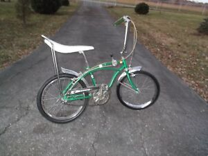 Vintage-Huffy-Dragster-RAIL-3-speed-1968-green-banana-seat-muscle-bike