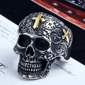 Ring-Skull-Motorcycle-Punk-Silver-Stainless-Steel-316l-Biker-Hip-Hop-for-Men7-14
