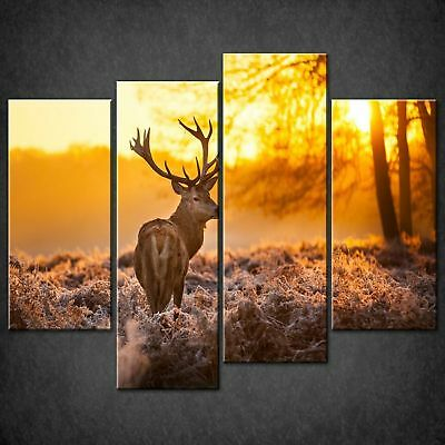 STAG RED DEER SUNSET SPLIT CANVAS PRINT PICTURE WALL ART HOME DECORE