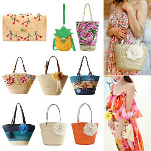 Women-039-s-Handbag-Straw-Woven-Shoulder-Bag-Summer-Holiday-Shopping-Beach-Satchel