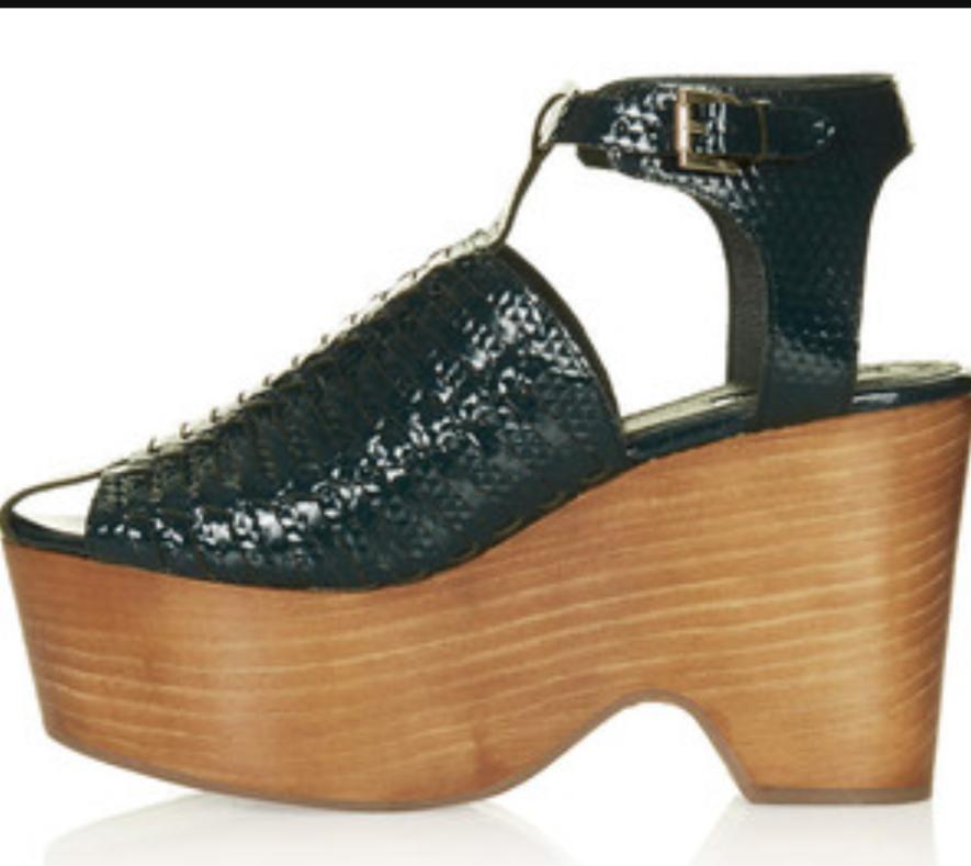 70s style TOPSHOP premium green snakeskin gladiator wooden platforms 'Willow' 7