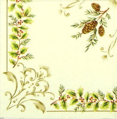4x Paper Napkins for Decoupage Decopatch Winter Elegance