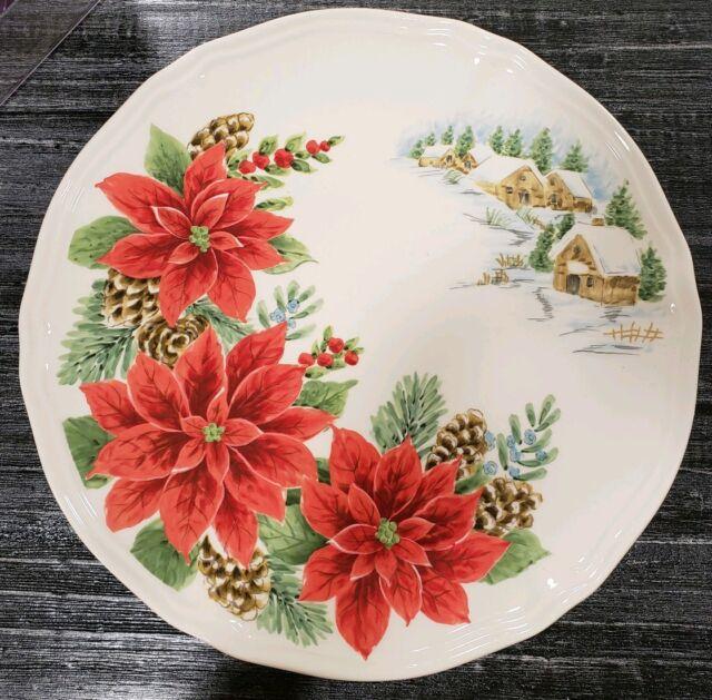 (4) MAXCERA POINSETTIA SNOWY VILLAGE CHRISTMAS DINNER PLATES Holiday Home Decor