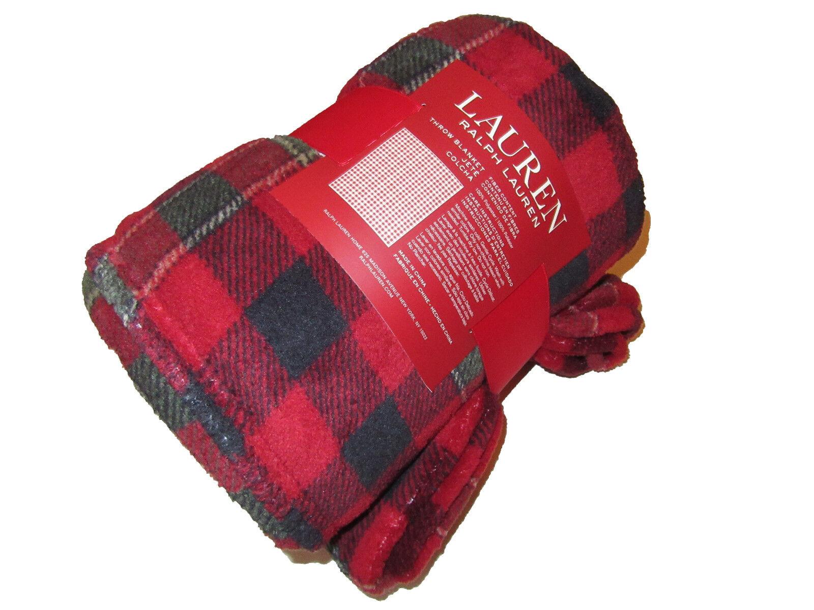 Ralph Lauren Rojo Negro comprobar A Cuadros Polo Lodge Villa Manta 60 X 70
