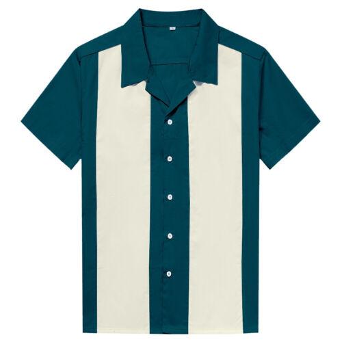 Men Western Shirts Short Sleeve Rockabilly Bowling Casual Shirts Lake Blue