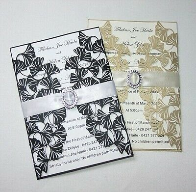 FreeShip Laser Cut Lotus Wedding Invitation Card With Ribbon+Envelopes
