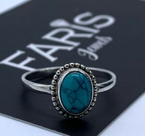 Designer-925-Sterling-Silver-Ladies-Turquoise-Oval-Ring-Gemstone-Ideal-Gift