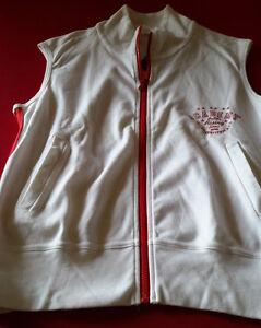 Gilet-donna-Dimensione-Danza-cotone-bianco-con-profili-rossi-tg-L